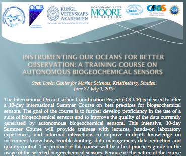 APPLICATION OPEN for IOCCP Summer Course on biogeochemical sensors