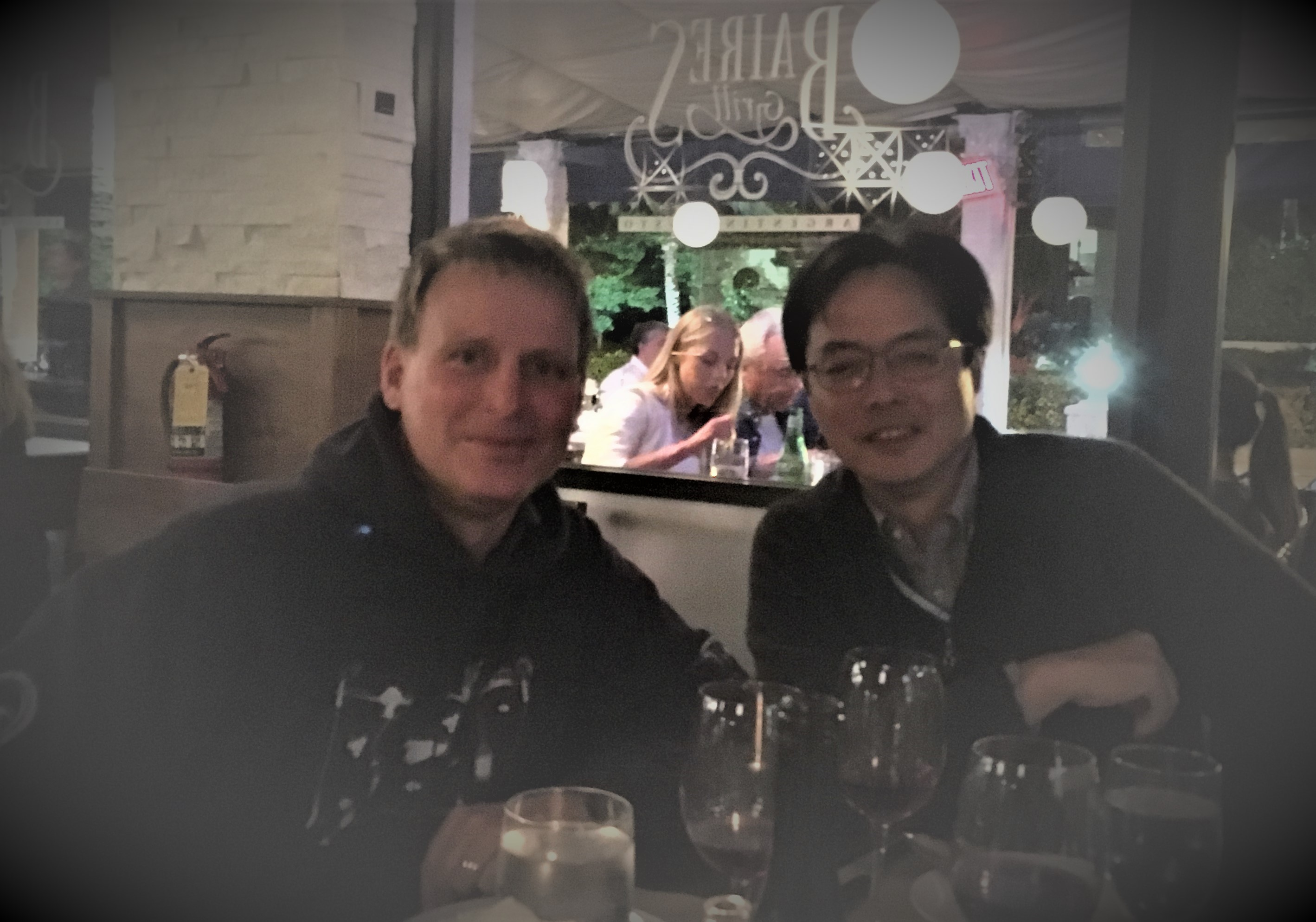 Masao Ishii and Toste Tanhua (IOCCP Co-Chairs) during annual IOCCP dinner, Baires Grill, Miami, FL, USA.